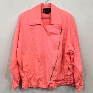 1990s Neon Pink Cross Zip Wind Jacket